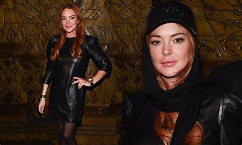 Lohans Lindsay Is Hooked On Oxycontin by Lfw Lindsay Lohan Steps Out In Leather Dress Daily Mail