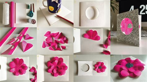How To Make Paper Flowers For Cards - s day make paper flower greetings card the curve