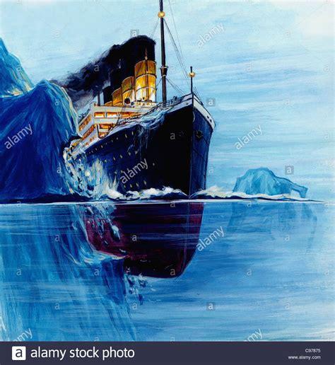 titanic boat iceberg titanic rams the iceberg stock photo royalty free image