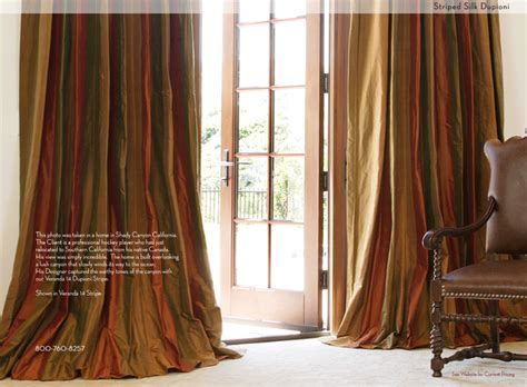 Striped Silk Custom Drapery Mediterranean Curtains