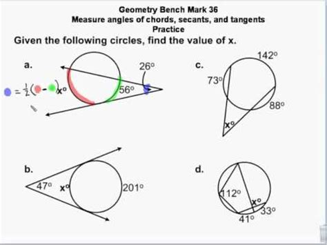 geometry circles chords secants tangents measures