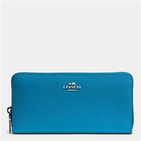 Coach Accordion Zip Wallet F13677 coach accordion zip wallet in crossgrain leather in blue silver peacock lyst