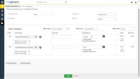 Vtiger 7 Predefined Quote Invoice So Templates Youtube Crm Template Free