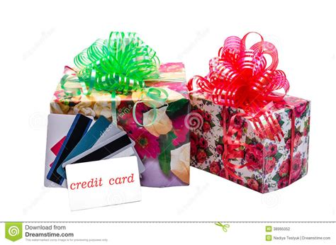 Help With Gifts For - credit card and gift stock photo image 38995052