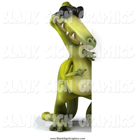 3d Copy And Draw Dinosaurs And illustration of a 3d green dinosaur wearing shades and looking around a blank sign by julos 6057