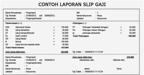 slip gaji karyawan toko 2010 contoh contoh slip gaji karyawan perusahaan