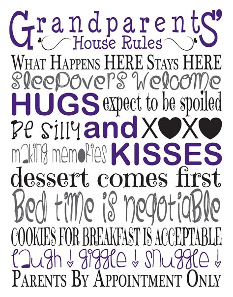 printable grandparent quotes 9 best images of grandparents house rules printable sign