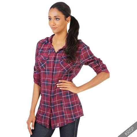 Tartan Blouse 1 womens checked tartan plaid print lumberjack sleeve button top shirt blouse