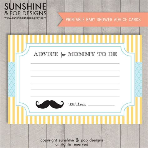 baby boy shower shower advice card 5 25x8 plaid blue instant download printable little man mustache baby