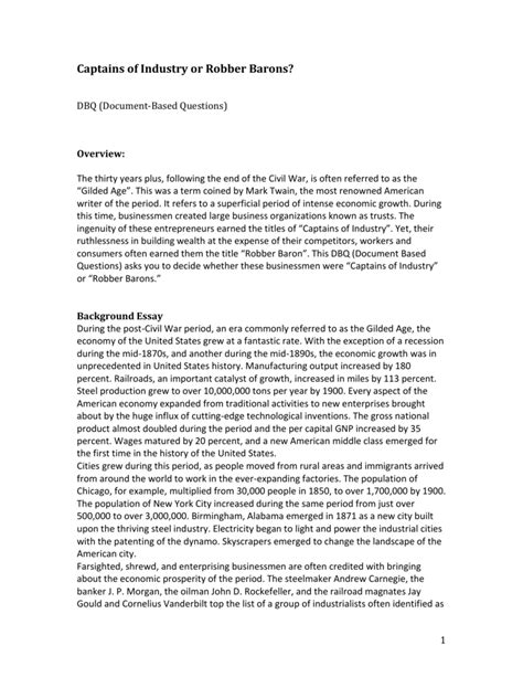 Captains Of Industry Essay by Robber Barons Essay Robber Barons Essay Protecno Srl Robber Barons Or Captains Of Industry