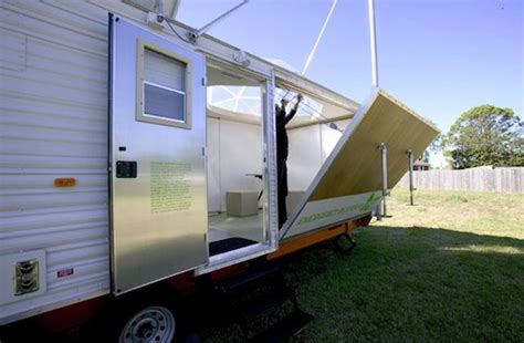 solar powered trailer home from fema trailer to solar powered studio and home
