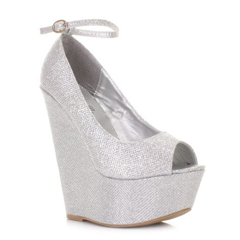 womens silver shimmer ankle peep toe wedge heel