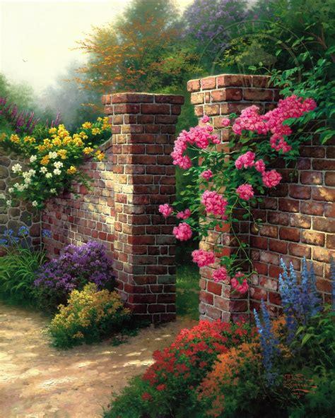 rose garden  limited edition canvas thomas kinkade