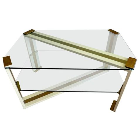 italian glass and brass coffee table for sale at 1stdibs