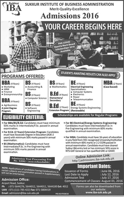 Mba Admission Criteria In Iba Karachi by Iba Sukkur Admission 2018 Form Apply Entry Test
