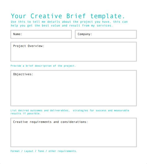 creative brief template sle creative brief 9 free documents in pdf word