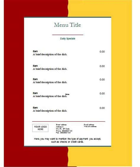 easy menu templates free menu template word template business