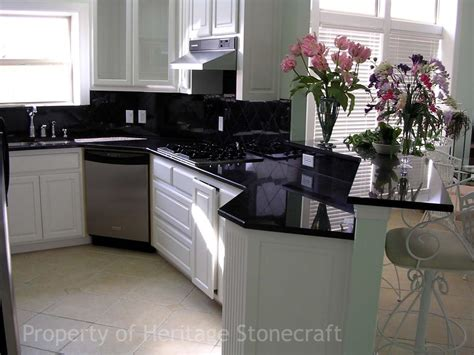 Kitchen With Black Granite Countertops by Black Galaxy Granite Countertop With Cabinet