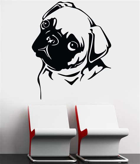 pug wallpaper for walls decor kafe decal style pug wall sticker buy decor kafe decal style pug wall sticker