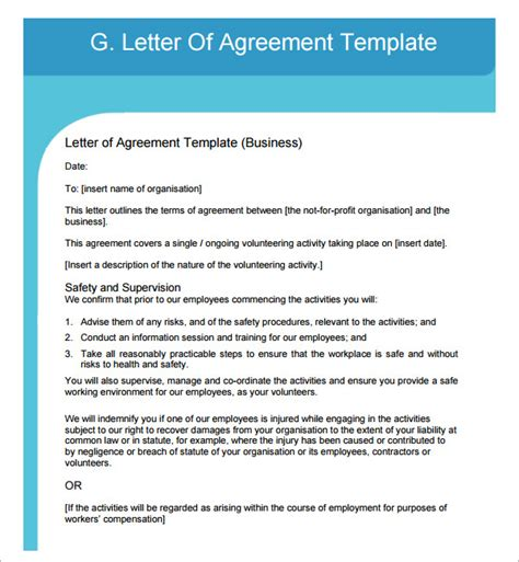 Letter Of Agreement Exles Letter Of Agreement Images