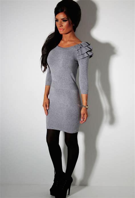 jumper dress grey ruffle detail jumper dress pink boutique