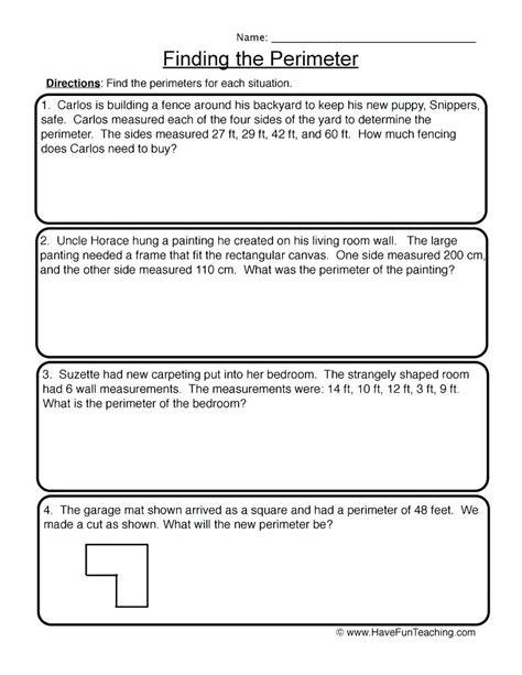 area and perimeter worksheets 4th grade