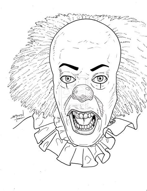 evil clown free coloring pages