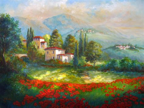 Online Home Decor Sites by Village With Poppy Fields Painting By Regina Femrite