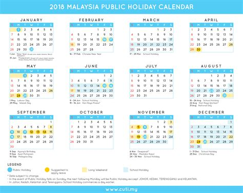 printable calendar 2018 with public holidays printable 2018 calendar malaysia with public holidays list