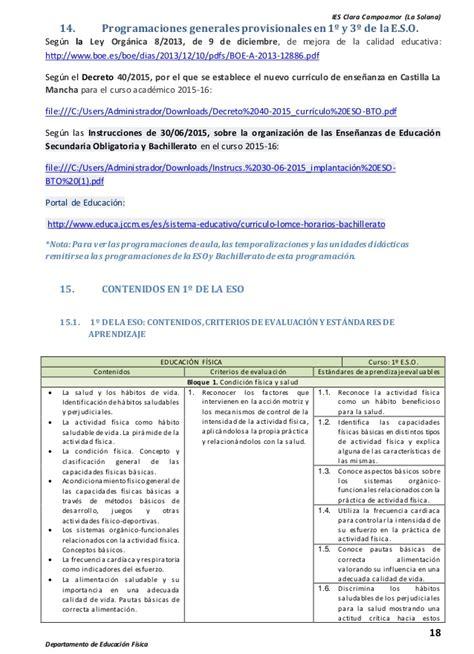 Programaciones Lomce Educacion Fisica | programaciones lomce educacion fisica programaciones lomce