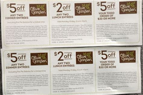 Coupon Code For Olive Garden by Olive Garden Printable Coupons July 2017 Printable
