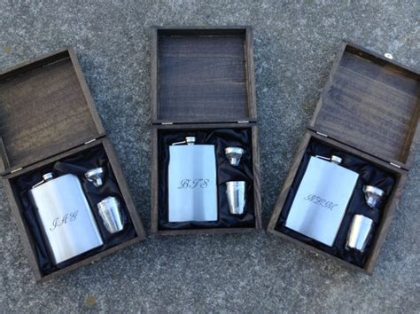country wedding 8 groomsmen gift flask sets personalized engraved cigar box set of 2 with flask shot glass set