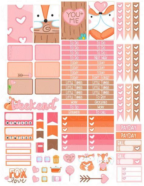 free printable valentines planner stickers printable planner stickers happy planner valentine fox