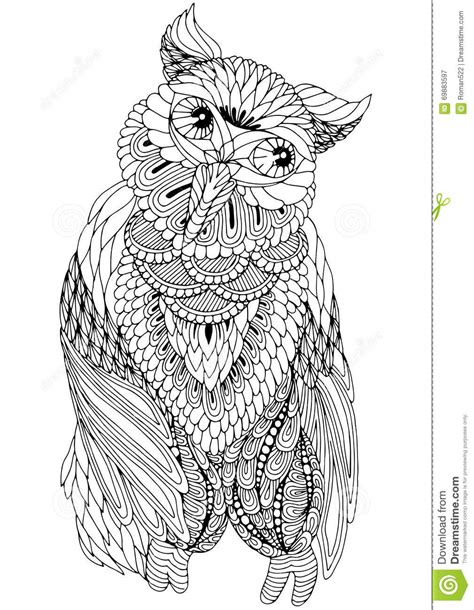 coloring owl decorative elements stock vector image
