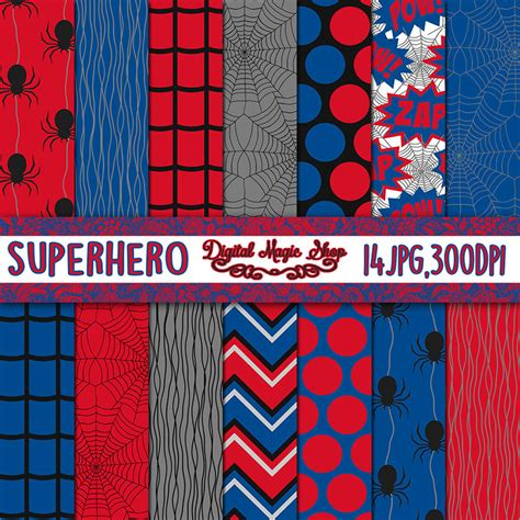 spiderman pattern background spiderman inspired digital paper seamless pattern 14pcs
