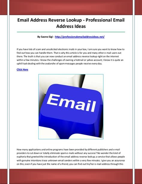 Email Addresses Lookup Professional Email Address Ideas