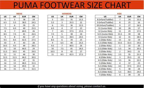 shoe size chart dubai size of puma online shopping puma t shirts