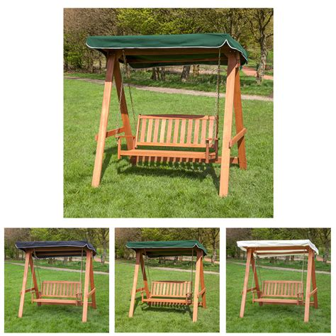 wood swing seat wooden 2 seater swing seat with canopy choice of colours