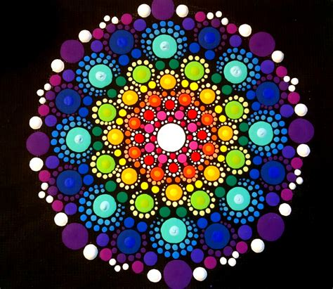 dot pattern mandala original dot art painting on 5x4 canvas with easel stand