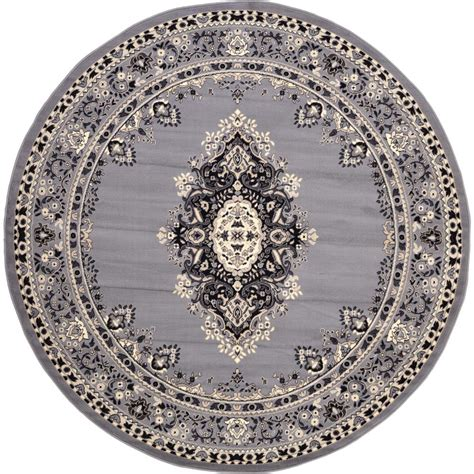 Circular Area Rugs Unique Loom Mashad Gray 8 Ft Rug 3119172 The Home Depot