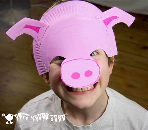 How To Make Masks Out Of Paper Plates - make a paper plate pig mask craft room