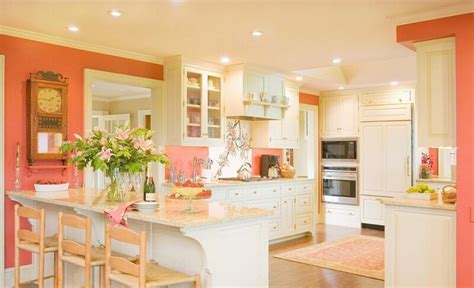 coral kitchen coral and cream colored kitchen room decor and design