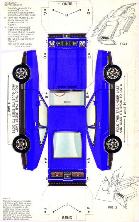 Make A Car Out Of Paper - medium bright blue 1974 mach 1 paper car ford mustang ii