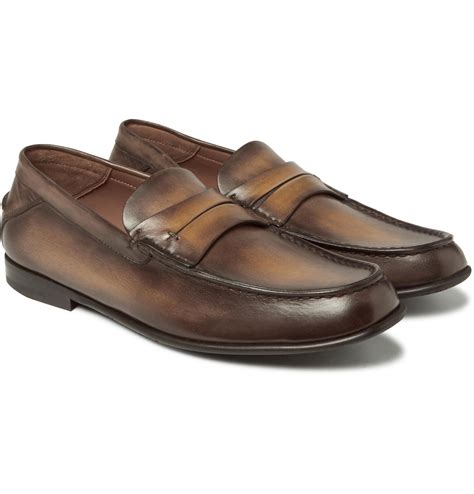 berluti loafers berluti polished leather loafers in brown for lyst