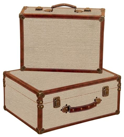 Decorative Suitcase by Burlap Decorative Suitcases Set Of 2 Traditional