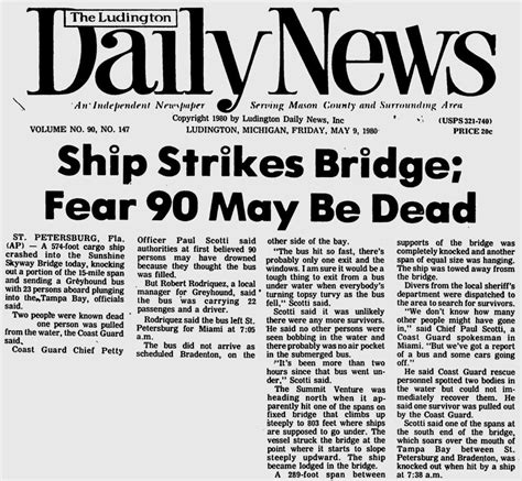 boat crash by skyway skyway bridge collapse disaster may 9 1980