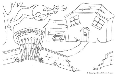 house coloring pages pdf spooky haunted house colouring