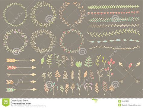 Hand Drawn Vintage Arrows, Feathers, Dividers And Floral Elements Stock Vector   Image: 53427611