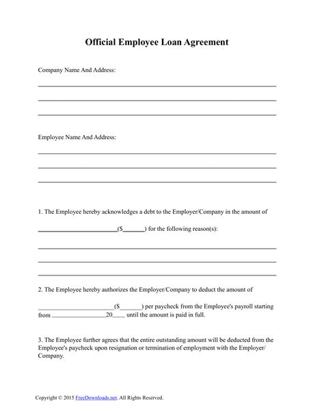 Download Employee Loan Agreement Template Pdf Rtf Word Freedownloads Net Employee Loan Template
