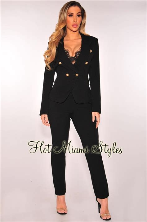 Blezer Set black blazer pant suit two set